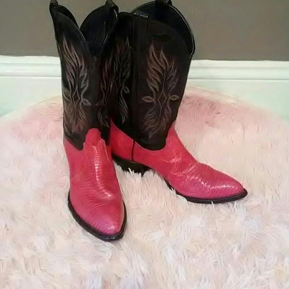 a7d398312b2 Hot Pink & black tony lama snake skin cowgirl boot
